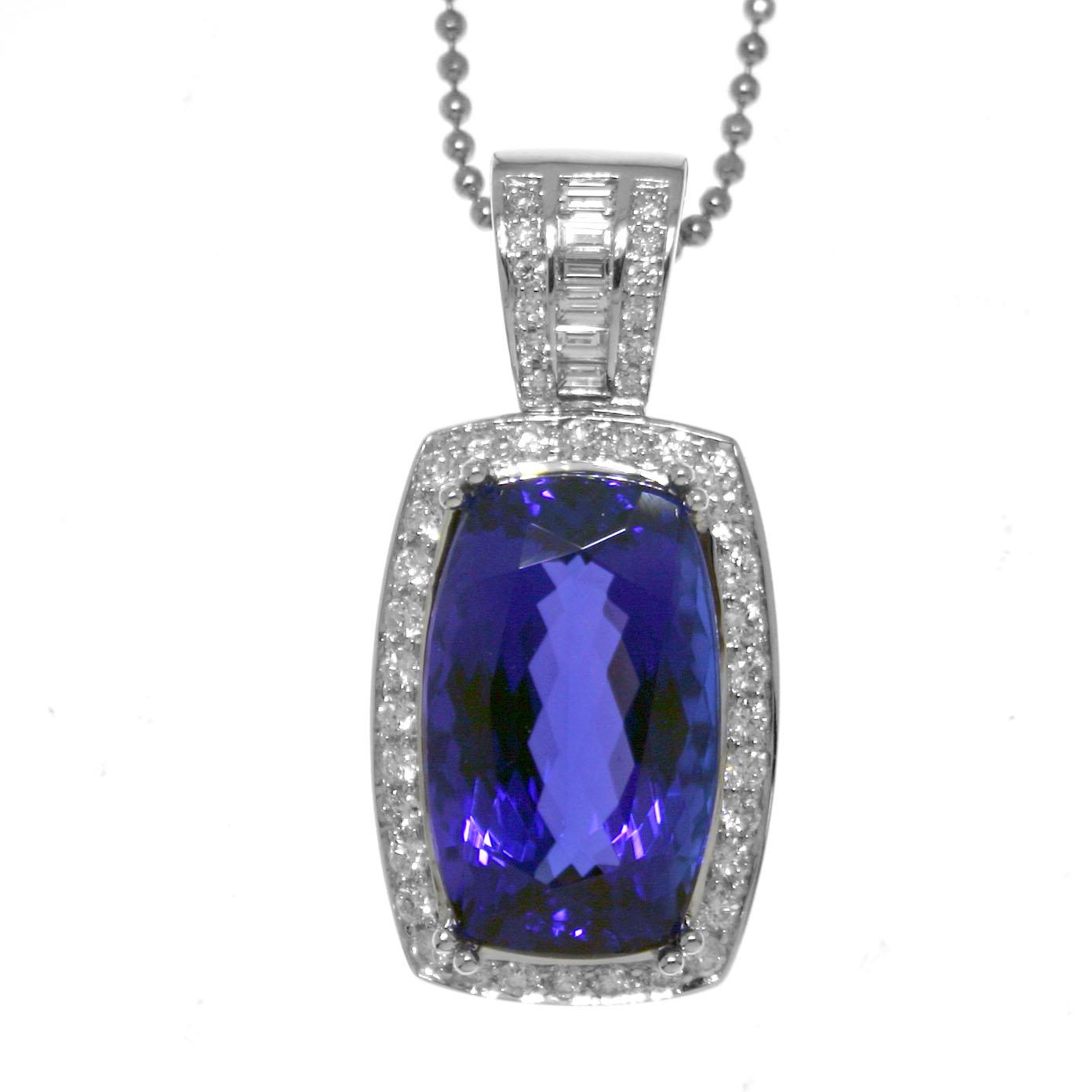 Gold tanzanite and diamond pendant pendants jewelry mozeypictures Gallery