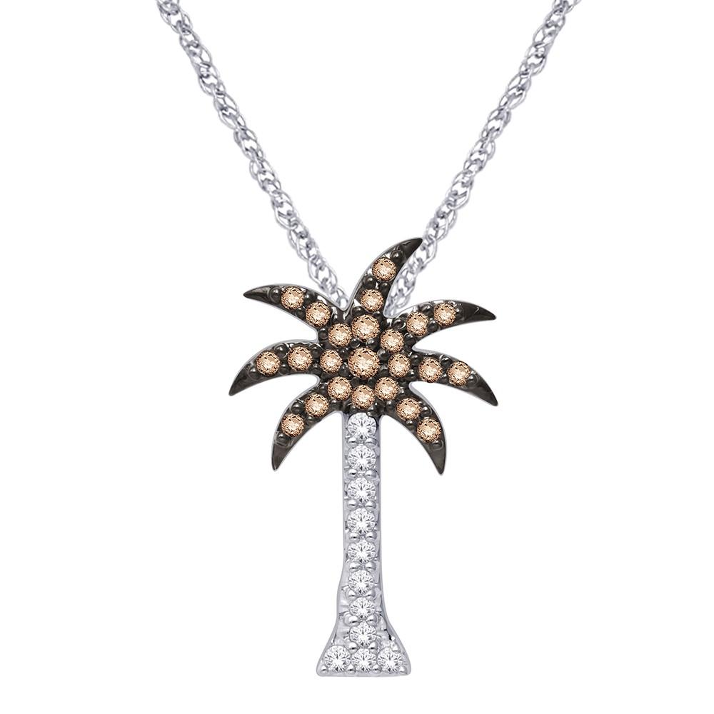 14k white gold 15 ct diamond palm tree pendant diamond palm tree pendant aloadofball Images