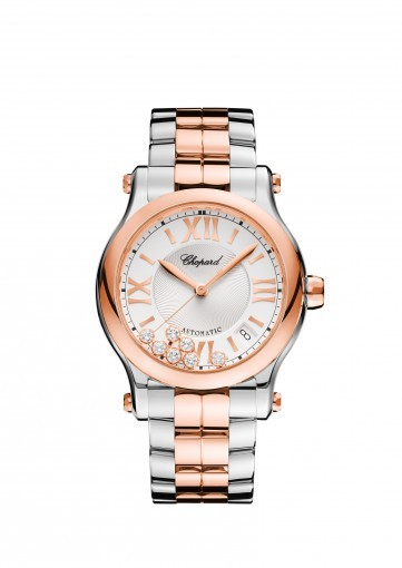 ab328dc07 HAPPY SPORT 36 MM AUTOMATIC WATCH 18K ROSE GOLD, STAINLESS STEEL AND  DIAMONDS. Zoom