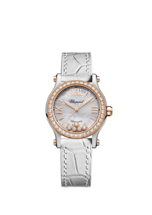 HAPPY SPORT 30 MM AUTOMATIC 18K ROSE GOLD, STAINLESS STEEL AND DIAMONDS