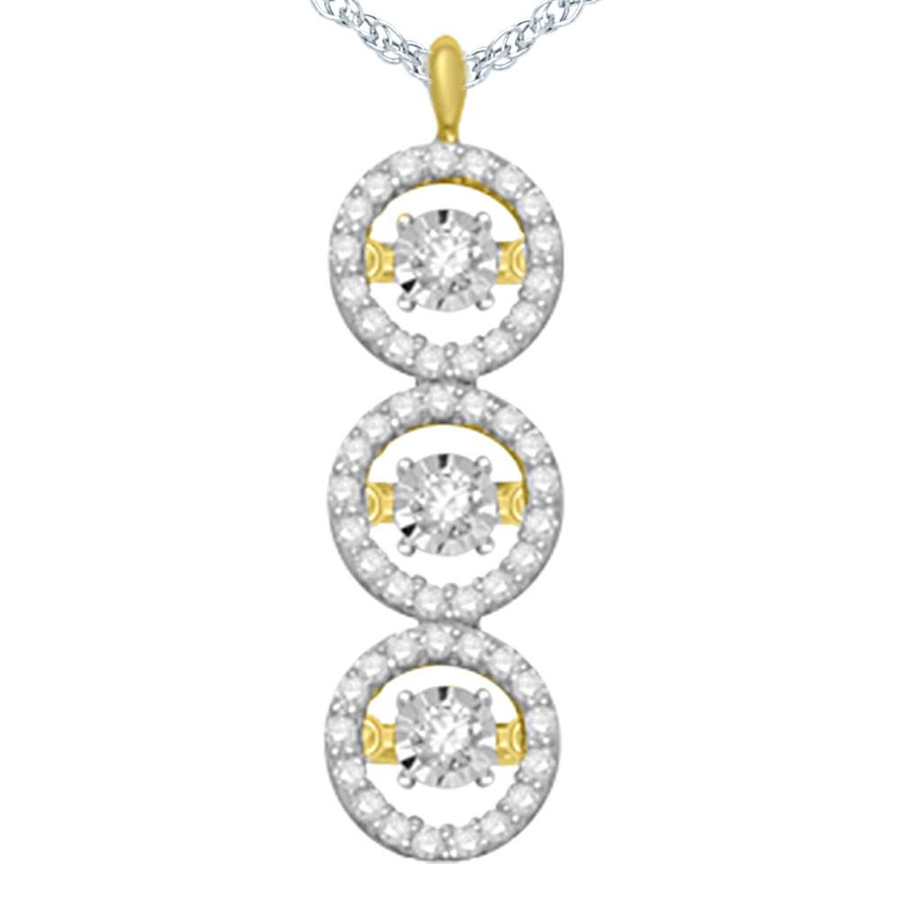 14K Yellow Gold Dancing Diamond Pendant