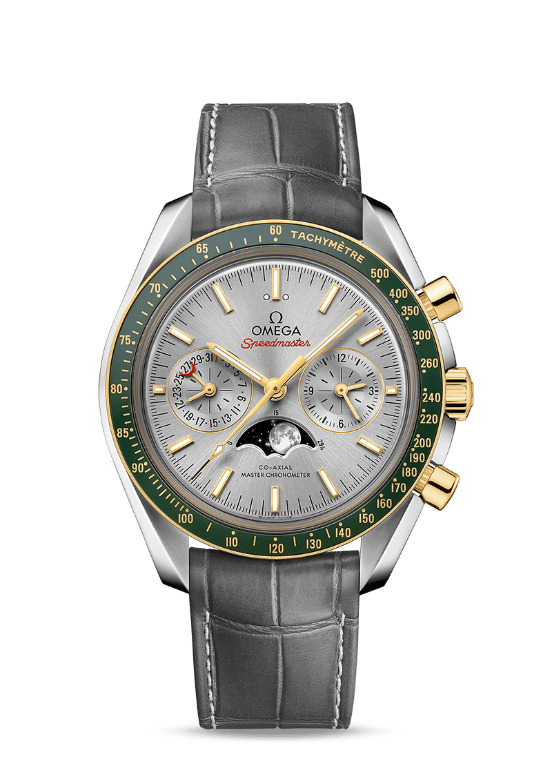 Steel ‑ yellow gold on leather strap MOONWATCH OMEGA CO‑AXIAL MASTER CHRONOMETER MOONPHASE CHRONOGRAPH 44.25 MM