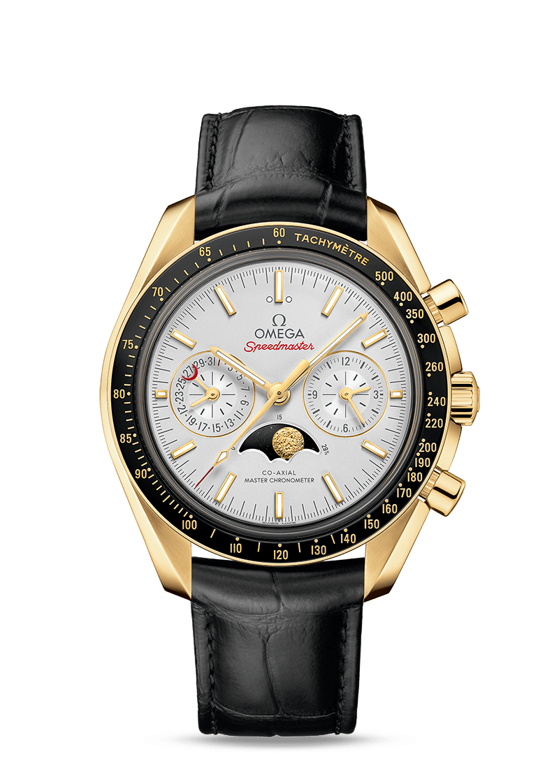 Yellow gold on leather strap MOONWATCH OMEGA CO‑AXIAL MASTER CHRONOMETER MOONPHASE CHRONOGRAPH 44.25 MM