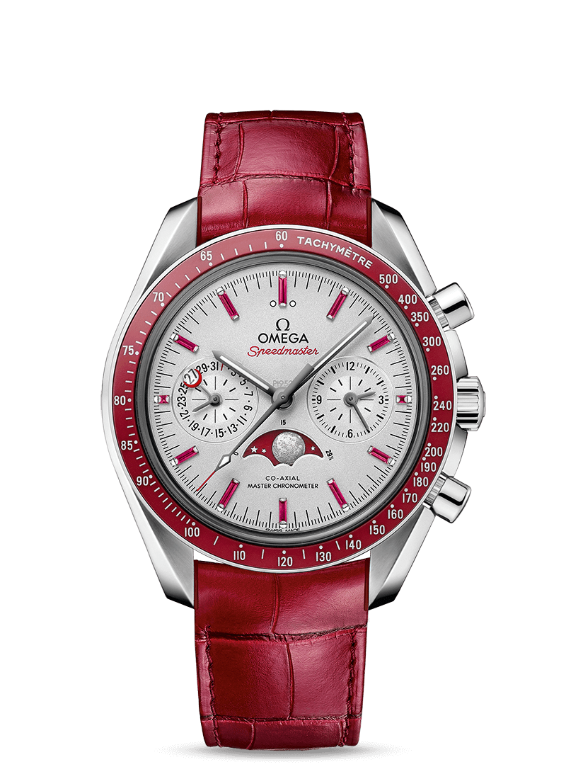 Platinum on leather strap MOONWATCH OMEGA CO‑AXIAL MASTER CHRONOMETER MOONPHASE CHRONOGRAPH 44.25 MM