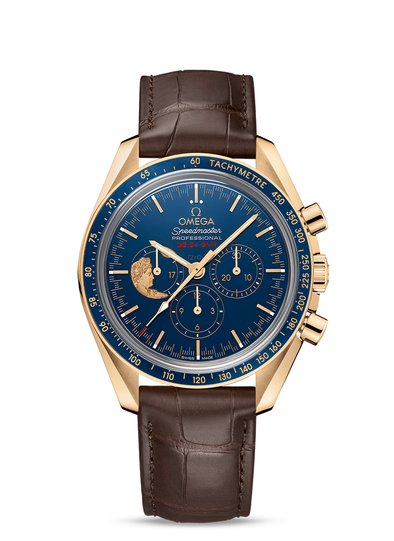 Yellow gold on leather strap Speedmaster MOONWATCH ANNIVERSARY LIMITED SERIES