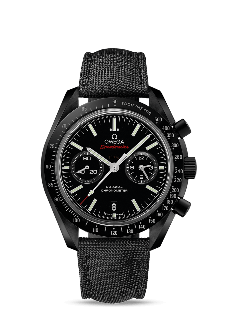 Black ceramic on coated nylon fabric strap with foldover clasp Speedmaster MOONWATCH OMEGA CO‑AXIAL CHRONOGRAPH 44.25 MM Dark Side of the Moon