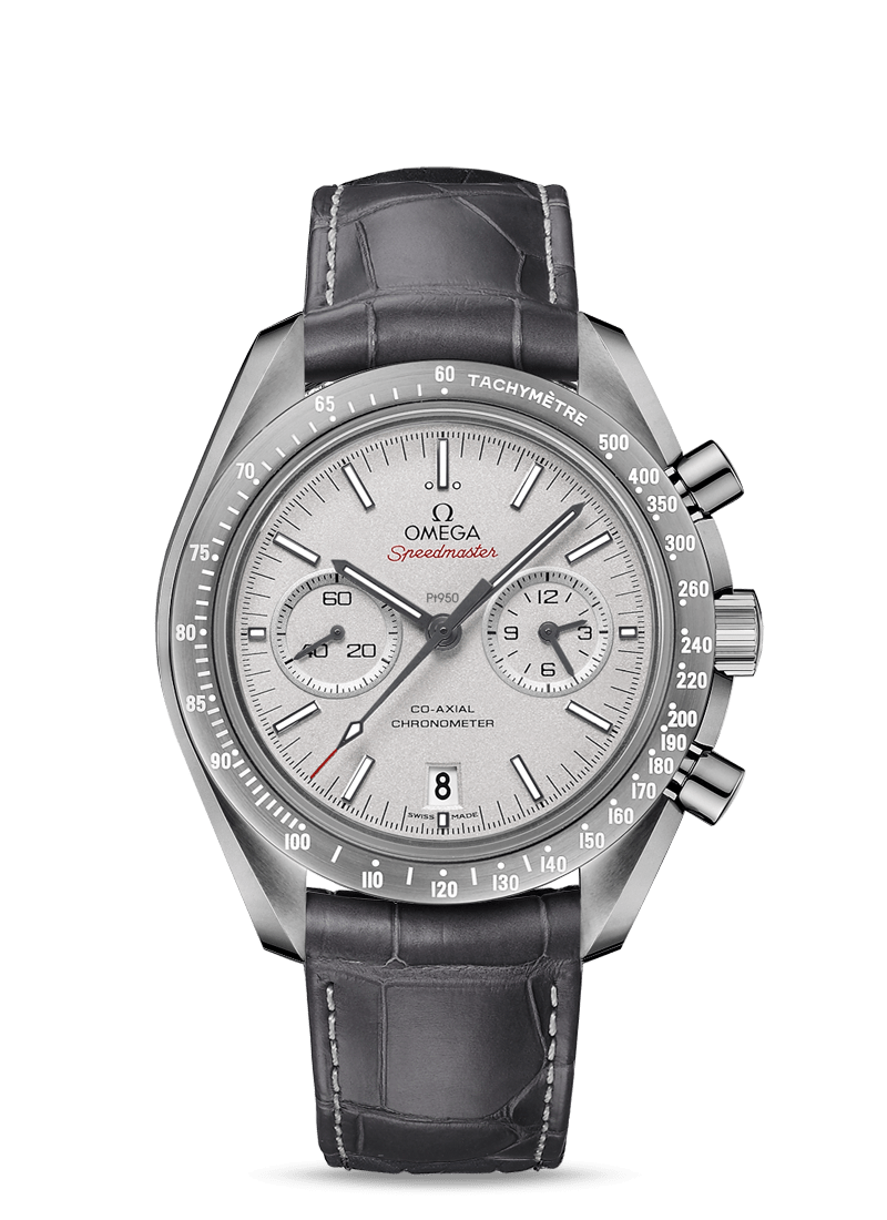 Grey ceramic on leather strap with foldover clasp Speedmaster MOONWATCH OMEGA CO‑AXIAL CHRONOGRAPH 44.25 MM Grey Side of the Moon