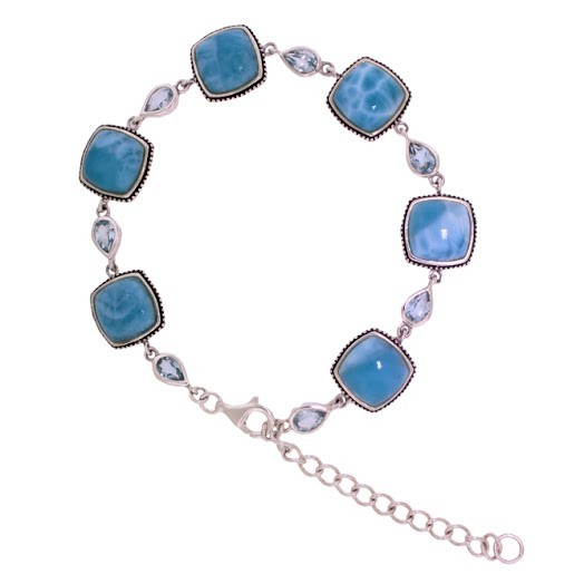 Beautiful Larimar Bracelet In Sterling Silver