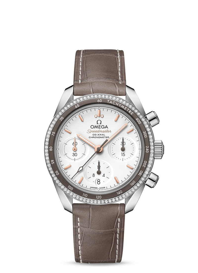 Steel on leather strap SPEEDMASTER 38 CO‑AXIAL CHRONOGRAPH 38 MM