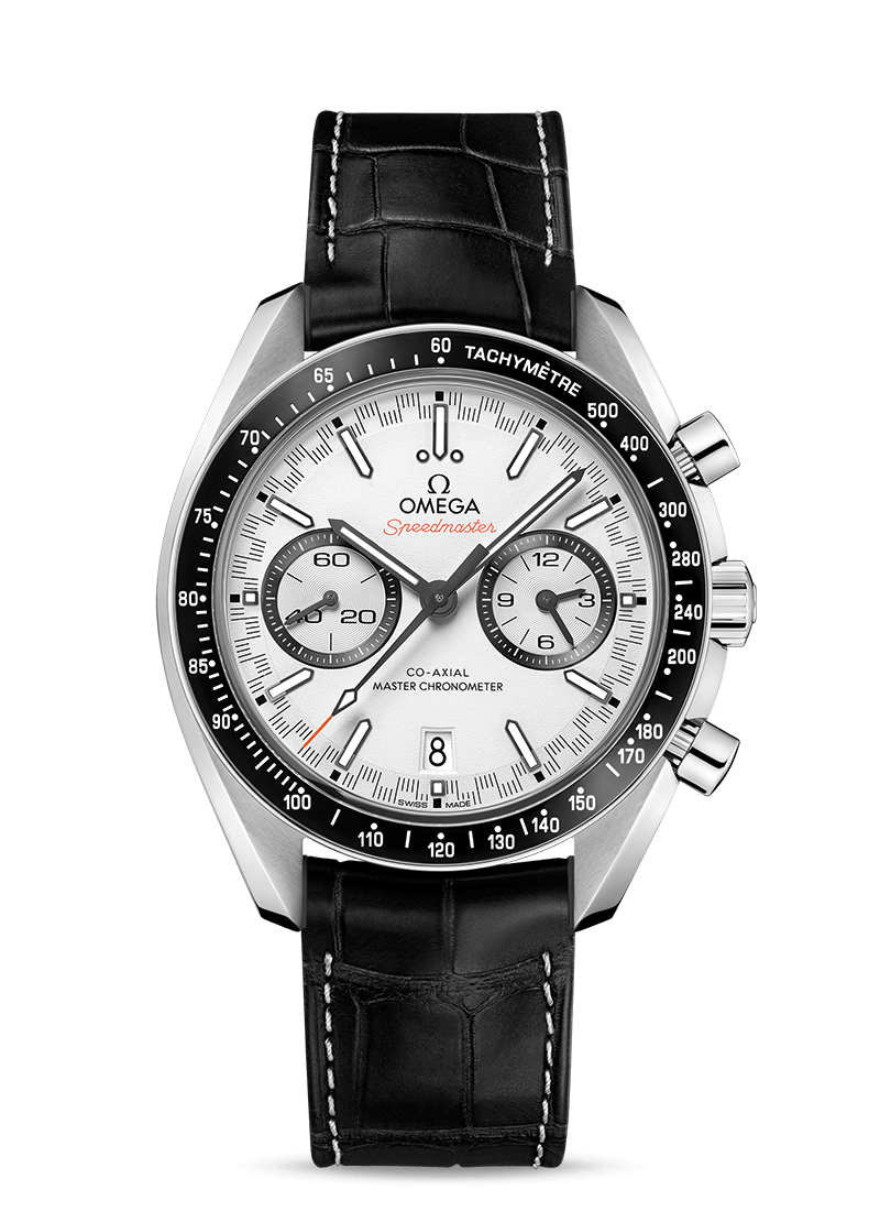 Steel on leather strap RACING OMEGA CO‑AXIAL MASTER CHRONOMETER CHRONOGRAPH 44.25 MM