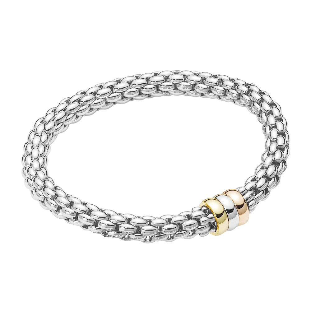 Fope Flex It 18ct White Gold Eka Bracelet with Three Color Rondels