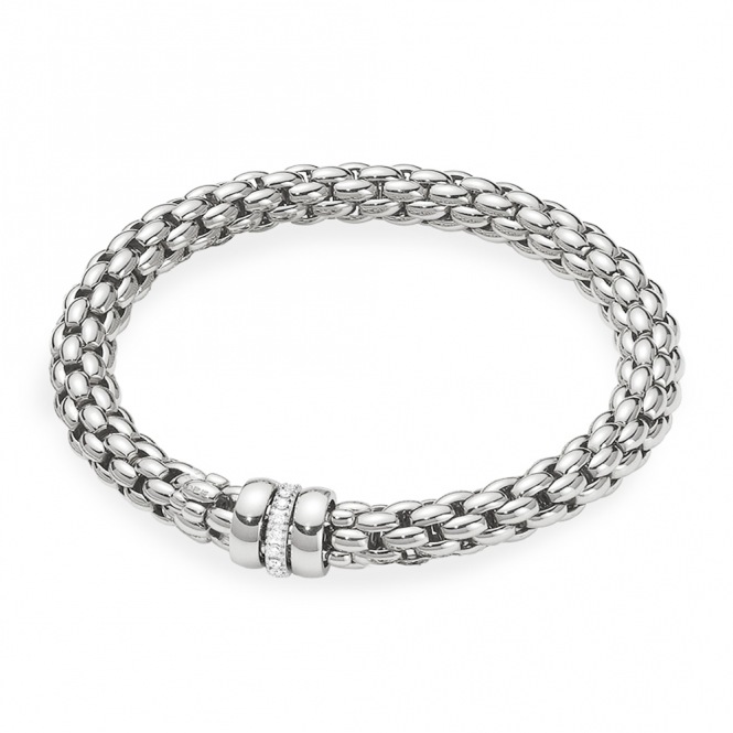 Fope Flex'it Eka 18ct White Gold Bracelet With Two Plain & One Diamond Set Rondels