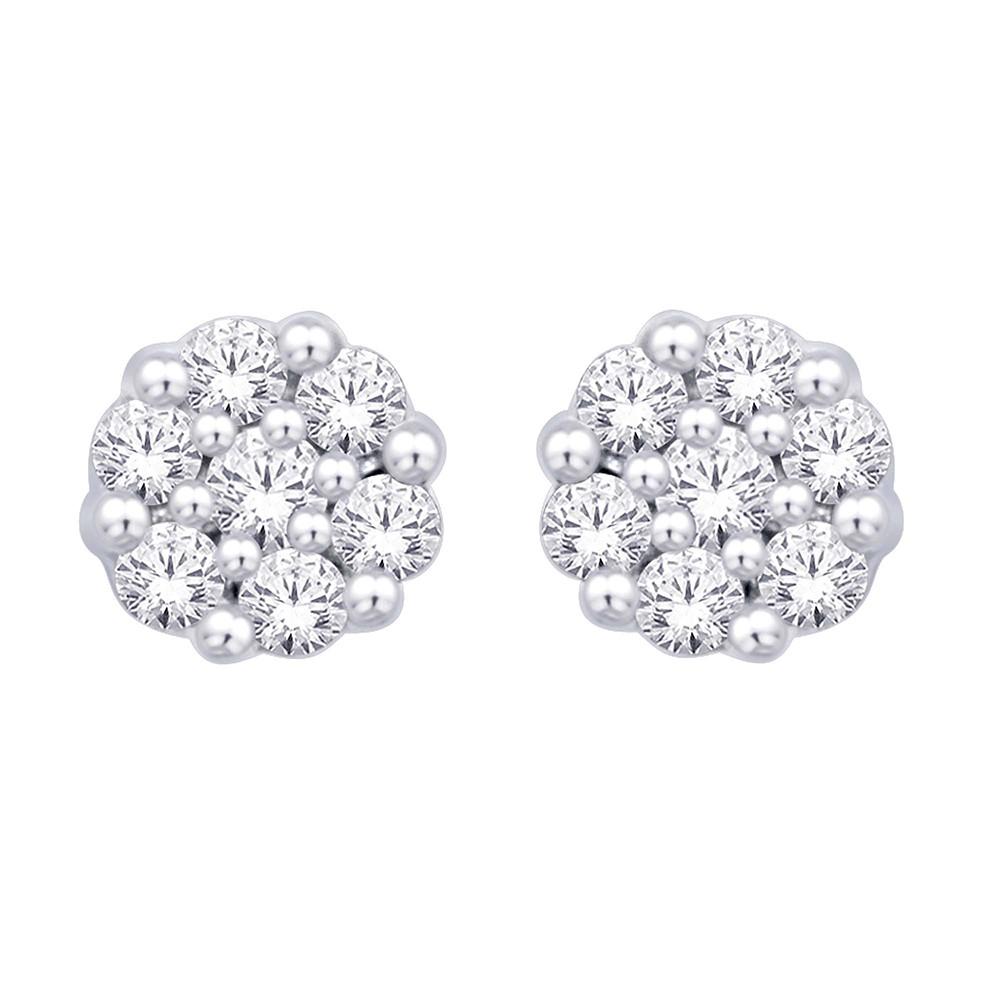 14k White Gold 1 Ct Diamond Flower Studs Earring Earrings