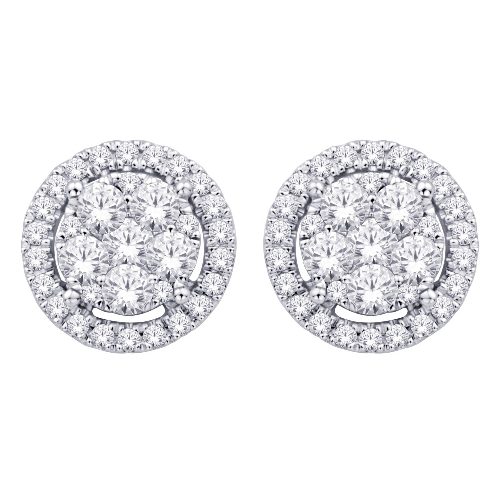 854007a634cb0 14K White Gold 1 Ct.tw. Diamond Flower Stud Earrings