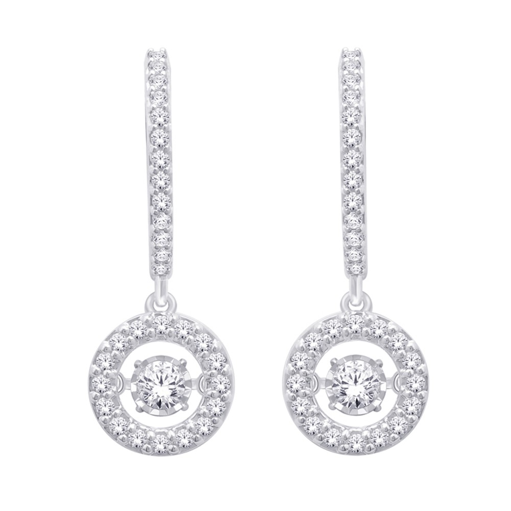 14k White Gold Dancing Diamond Earring