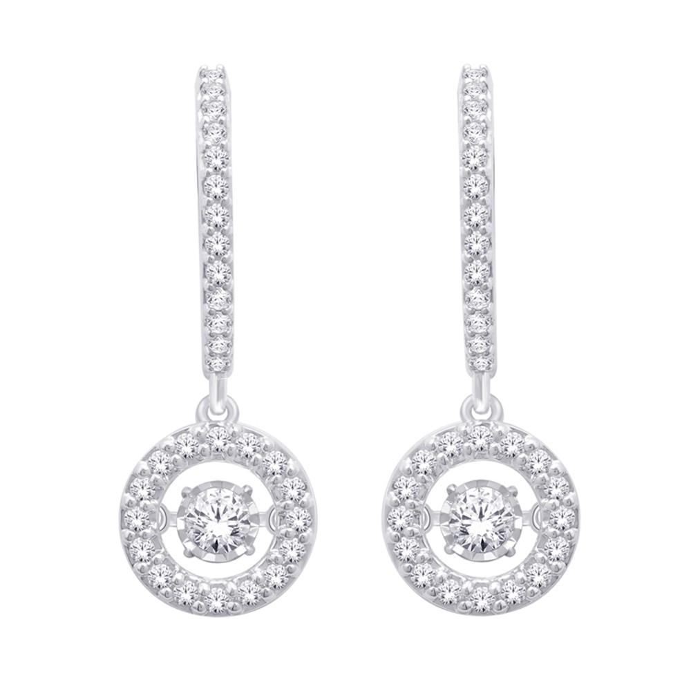 14K White Gold Dancing Diamond Earring