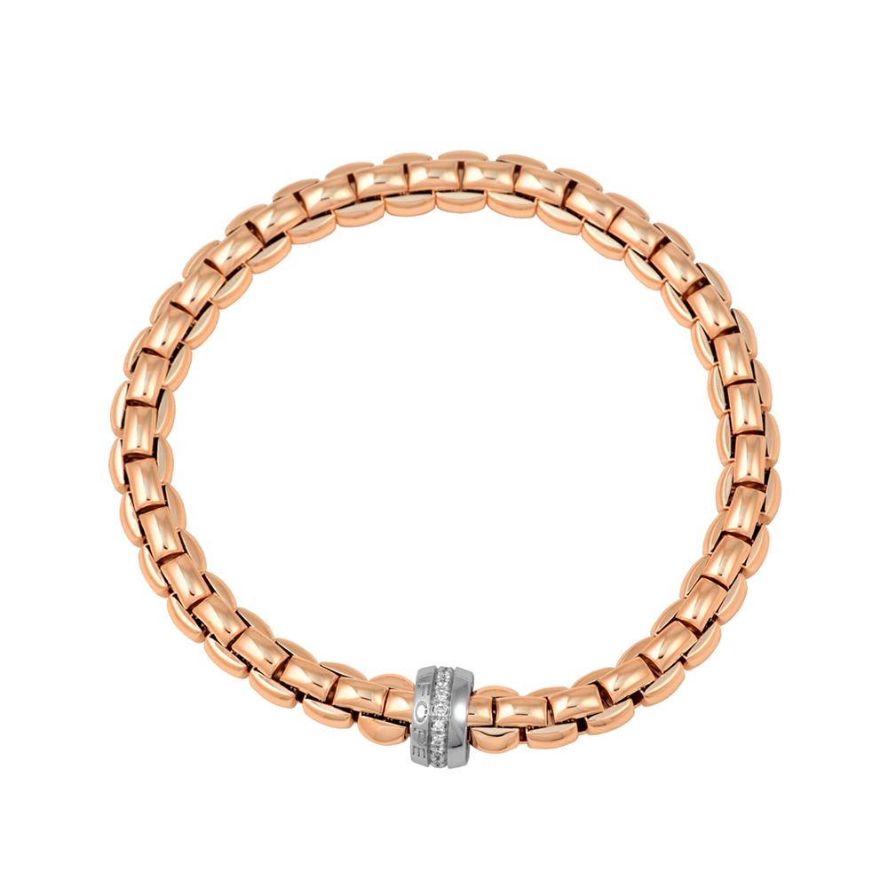 Fope Flex'it Eka 18ct Rose Gold Bracelet With White Gold Diamond Set Rondel