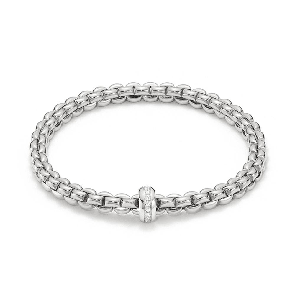 Fope Flex'it Olly 18ct White Gold Bracelet With Diamond Set Rondel