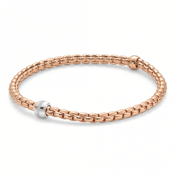 Fope Eka Tiny 18ct Rose Gold Flex'it Bracelet with Diamond Set Rondel