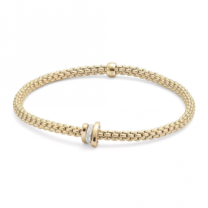Fope 18ct Yellow Gold Prima Flex It Bracelet With One Diamond Set And Two Plain Rondels