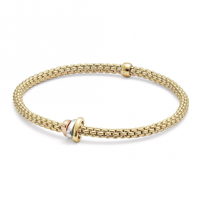 Fope Prima 18ct Yellow Gold Flex It Bracelet With 18ct White, Rose & Yellow Gold Plain Rondels