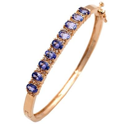Gold TANZANITE and Diamond Bangle