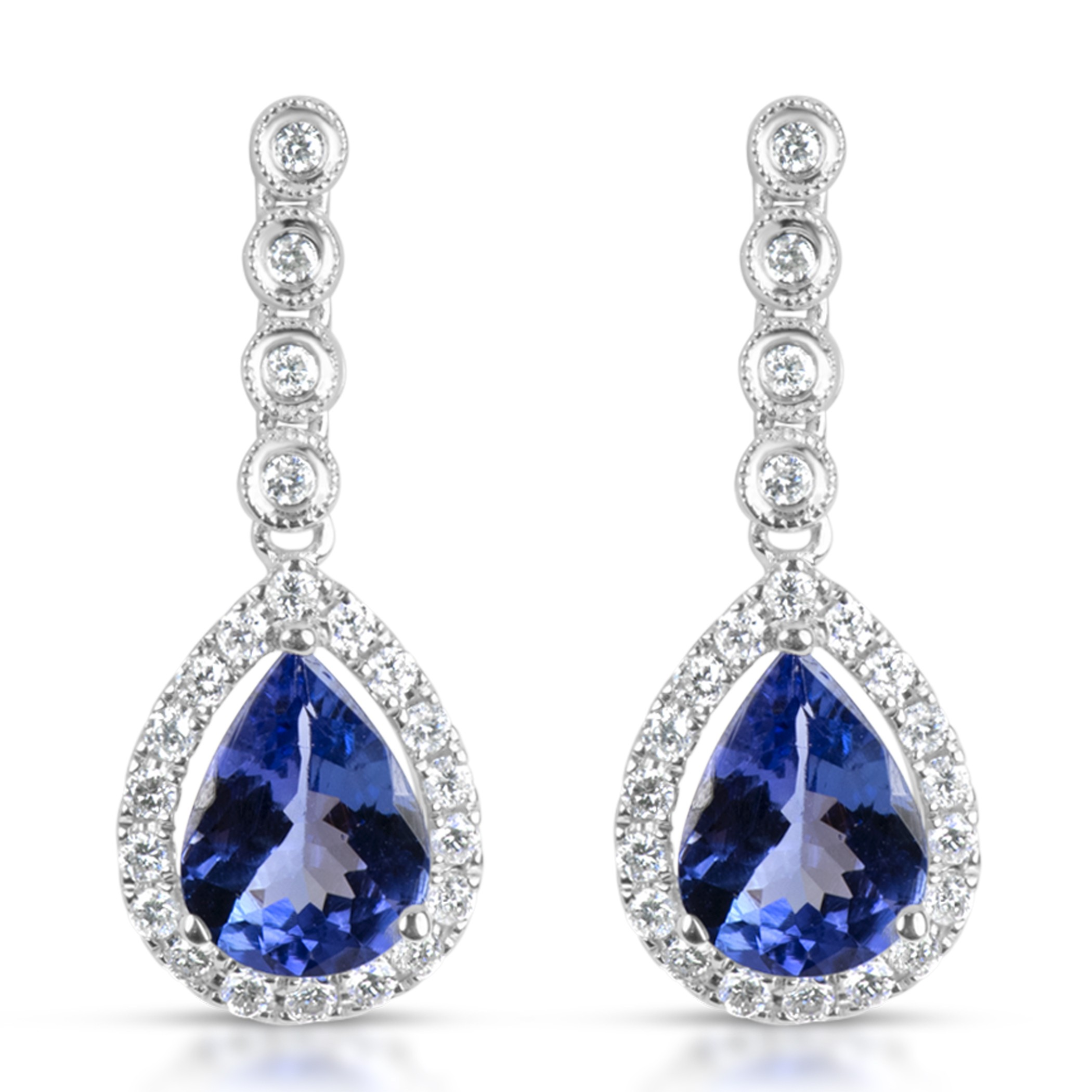 jewelry earrings gold tanzanite diamond and