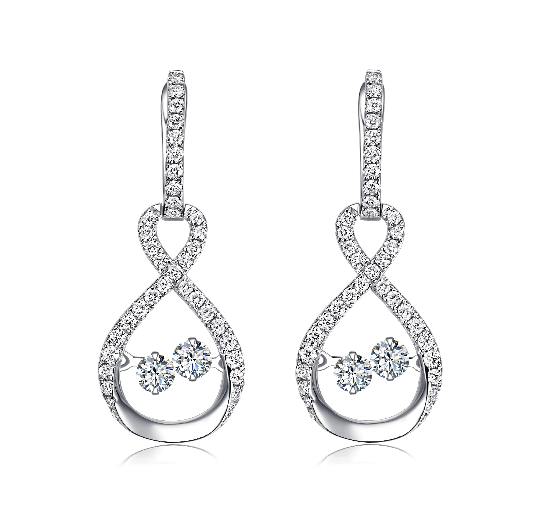 14kt White Gold Dancing Diamond Earring
