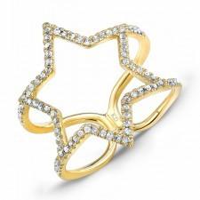 YELLOW GOLD TRENDY STAR DIAMOND RING
