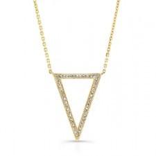 YELLOW GOLD TRENDY V DIAMOND PENDANT