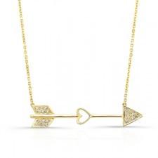 YELLOW GOLD CLASSIC CUPID ARROW DIAMOND PENDANT