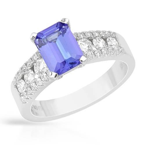 Gold TANZANITE and Diamond Ring