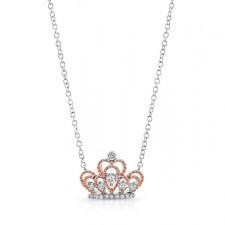 WHITE & ROSE GOLD CONTEMPORARY TIARA DIAMOND PENDANT