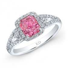 193bfec8604 WHITE GOLD PINK ENHANCED RADIANT DIAMOND BRIDAL HALO RING