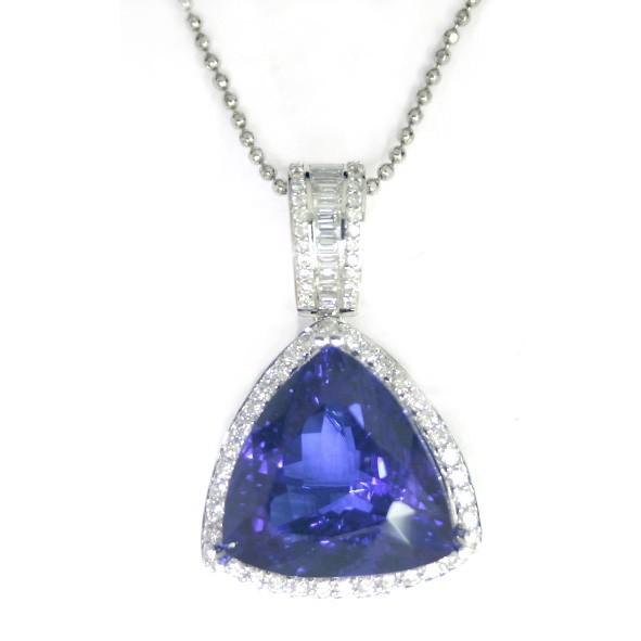 Gold TANZANITE and Diamond Pendant