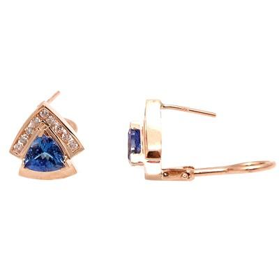 Gold TANZANITE and Diamond Earrings